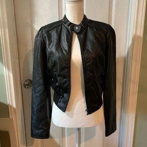 Rue21 Black leather-like jacket. Large. Like new
